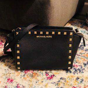 Selma Studded Leather Michael Kors Crossbody Purse